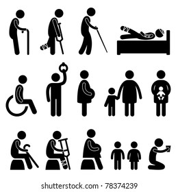 old man patient blind disable handicap pregnant woman children baby poor begger people in need priority icon symbol sign pictogram