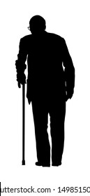 Old man person with stick silhouette. Happy elderly senior walking alone vector isolated on white. Mature people active life. Grandfather outdoor in park. Health care in nursing home. Lonely and sad.