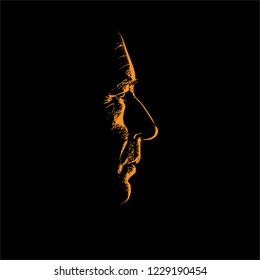 Old man portrait silhouette in contrast backlight. Vector. Illustration.