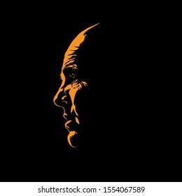 Old man portrait silhouette in contrast backlight. Vector. Illustration.