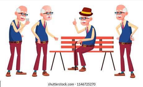 Old Man Poses Set Vector. Elderly People. Senior Person. Aged. Beautiful Retiree. Life. Card, Advertisement, Greeting Design. Isolated Cartoon Illustration