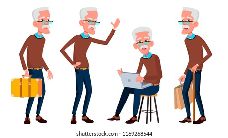 Old Man Poses Set Vector. Elderly People. Senior Person. Aged. Friendly Grandparent. Banner, Flyer, Brochure Design. Isolated Cartoon Illustration