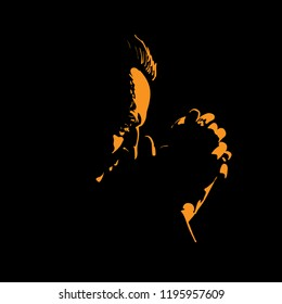Old Man is praying. Silhouette in backlight. Vector. Illustration.