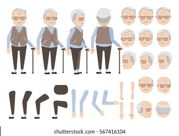 Old man relies on cane character creation set. Icons with different types of faces and hair style, emotions,  front, rear, side view of male person. Moving arms, legs. Vector illustration