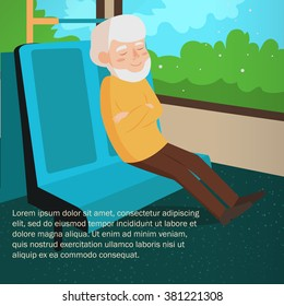 Old man rides the bus. Journey. Vector illustration. Cartoon character