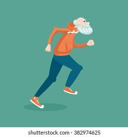 Old man running
