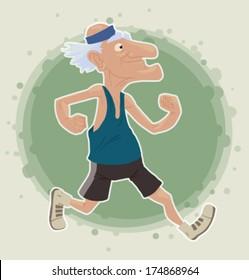 Old Man running, vector