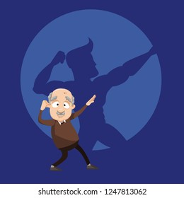 Old man with shadow of young athlete vector illustration. Cartoon granddad with superhero silhouette in round conceptual frame on background. Good health confidence and eternal youth of soul concept