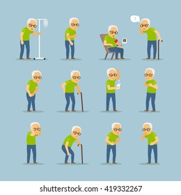 Old man sick. Old mens disease vector illustration