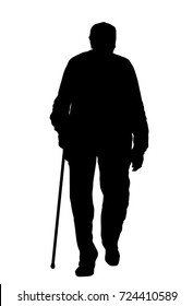 Old man silhouette on white background, vector illustration