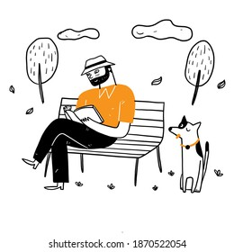 The old man sitting on the park chair reading a book in a relaxed with his dog. Hand drawing vector illustration doodle style