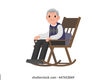 Old man sitting on rocking chair. Grandfather relax in her rocking chair. Isolated Vector illustration.