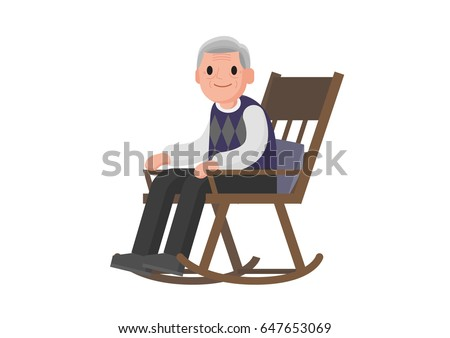 Old Man Sitting On Rocking Chair Stock Vector Royalty Free