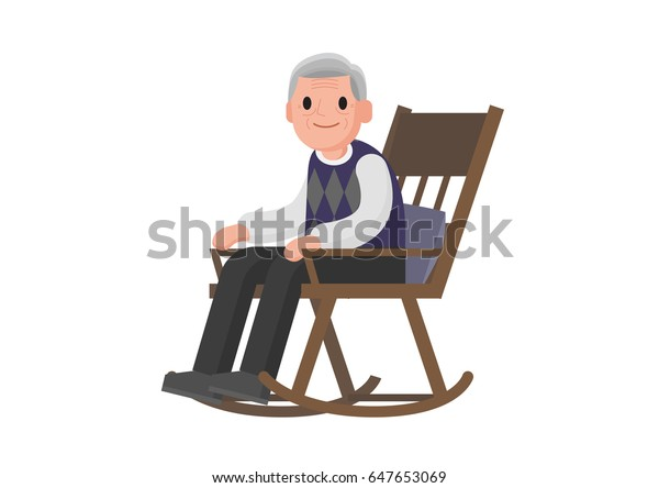 buy popular 6036d 6b8e9 Old Man Sitting On Rocking Chair Stock Vector (Royalty Free ...