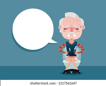 Old man sitting on the toilet and Constipation are experiencing severe abdominal pain. vector cartoon