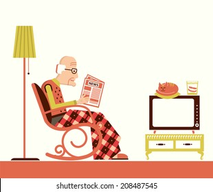 Old man sitting in rocking chair and reading newspaper in his room.Vector pensioner isolated for design