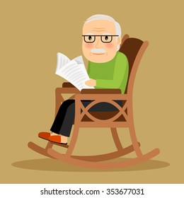Old man sitting in rocking chair and reading newspaper. Vector illustration.