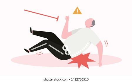 old man slipping, falls down and gets bone fracture. falling accident in elderly.