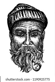 Old man smoking pipe t-shirt design print. Old sailor, captain portrait hand drawn art