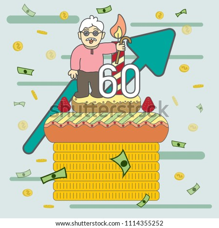 old man stand on 60th birthday stock vector royalty free