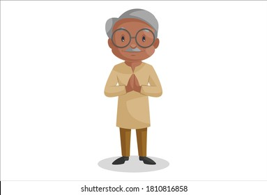 Old man is standing with greet. Vector graphic illustration. Individually on white background.