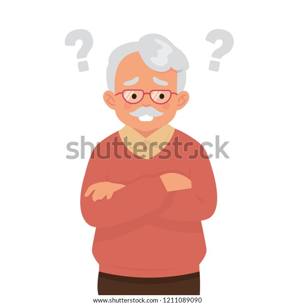 old man suffering from dementia, old man with question marks because they are easy to forget