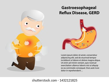 Old man suffering from stomach painful or Acid Reflux or Heartburn, Gas, Bloating, Belching and flatulence.  vector, illustration