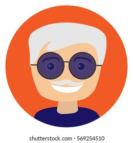 Old man with sunglasses. Vector illustration. Portrait. Flat. Smile. Mustache.