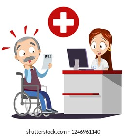 Old man surprised by medical bill vector illustration. Cartoon grandpa in wheelchair shocked by price for hospital prices. Nurse at reception desk of clinic with computer