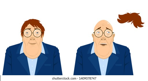 Old Man with Toupee Floating Above Head. Vectoral Illustration. White Background Isolated