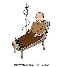 Old man treated infusion cartoon vector