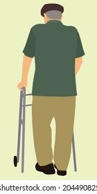 Old Man Using a Walker While Walking Away