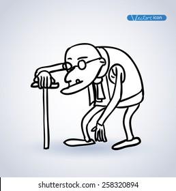old man, vector illustration.