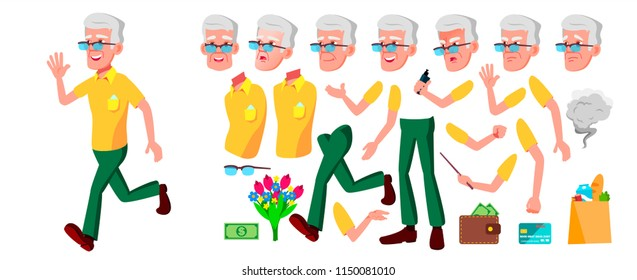 Old Man Vector. Senior Person Portrait. Elderly People. Aged. Animation Creation Set. Face Emotions, Gestures. Active Grandparent. Joy. Poster Design. Animated. Isolated Cartoon Illustration