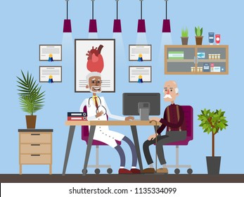 Old man visiting male doctor in a hospital. Senior sitting in the chair and listening to the doctor. Consultation with specialist. Hospital room interior. Isolated flat vector illustration