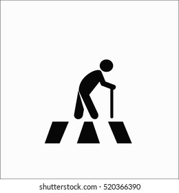 old man walk on crosswalk icon vector isolate on white background