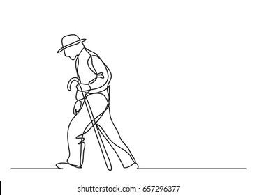 old man walking - single line drawing