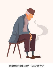 Old man wearing a hat, jacket and trousers, sitting on a bench and smokes. Vector cartoon illustration. Character