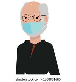 old man Wearing a Protective Mask to Protect Covid-19 or Corona Virus Outtbreak  flat illustration isolated on white background grey-haired grandfather or grandpa in black hoody smiling in good mood.