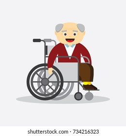Old man in a wheelchair character. Flat vector illustration cartoon style