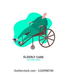 The old man in a wheelchair. Elderly people problem. Nursing house. Medicine, healthy lifestyle concept. Editable vector illustration in pink, green, brown colors isolated on white background.