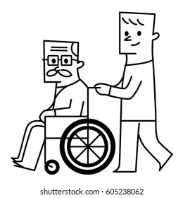 old man and wheelchair. vector illustration
