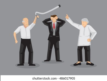Old man and old woman in argument with stressed up young man standing between them in dilemma. Cartoon vector illustration on conflict between old people isolated on grey background.