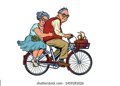 old man and woman couple in love, riding a bike. active lifestyle. Pop art retro vector illustration vintage kitsch