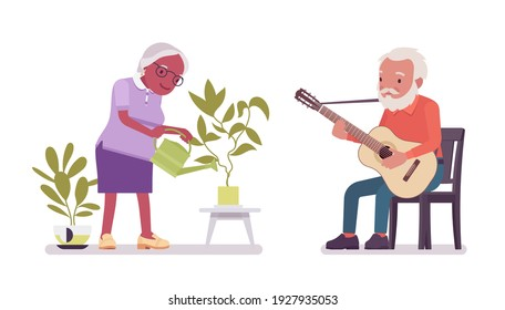 Old man, woman elderly person watering plant, playing guitar. Senior citizens over 65 years, retired grandparent, old age pensioner. Vector flat style cartoon illustration isolated on white background
