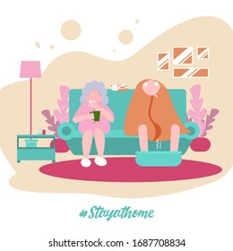 Old Man and old Woman, the Family to stay at home during pandemia Coronavirus. Get sick. Modern flat illustration.
