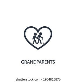 Old man and woman icon. Simple family element illustration. Vector symbol design from home collection.