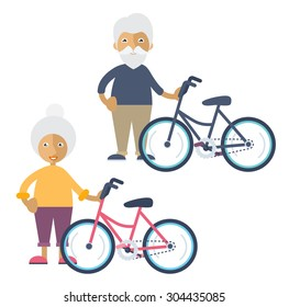 An old man and an old woman standing beside their colorful bikes