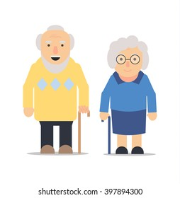 Old man and woman standing next to each other smiling, vector illustration. Grandma and grandpa. Retired couple. Grandparents with cane