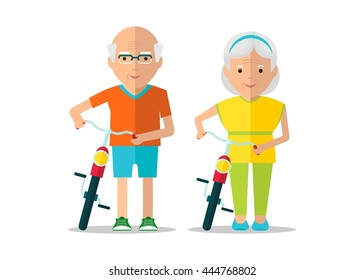 Old man and old woman walking with bikes. Healthy active lifestyle. Sport for grandparents. Objects isolated on a white background. Flat vector illustration.